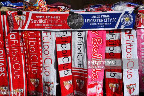 Scarves are displayed for sale at a stall before the UEFA Champions League Round of 16 first leg match between Sevilla FC and Leicester City at...