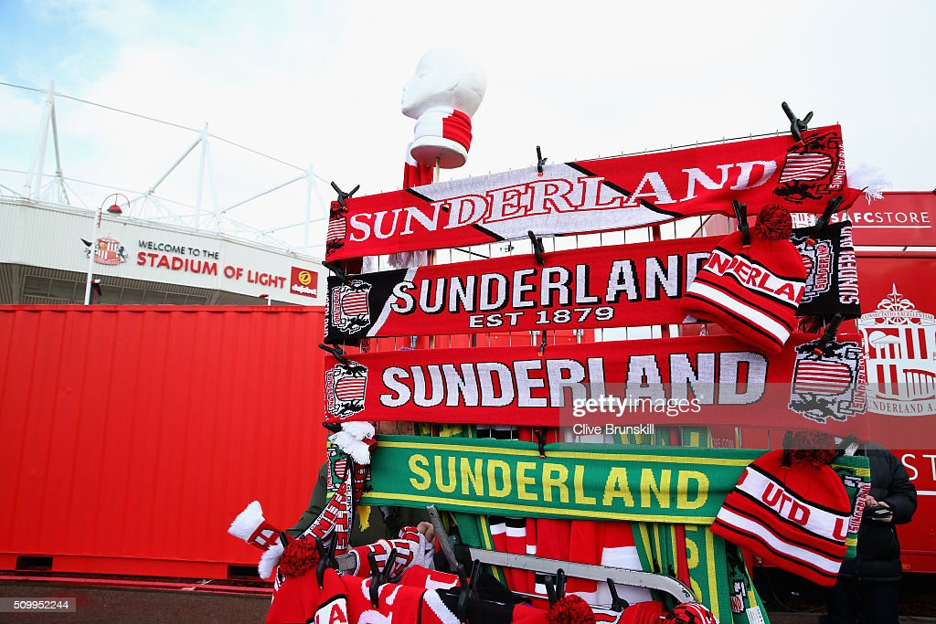 Scarves are on sale at a stall outside the stadium prior to the Barclays Premier League match between Sunderland and Manchester United at the Stadium of Light on February 13, 2016 in Sunderland, England.