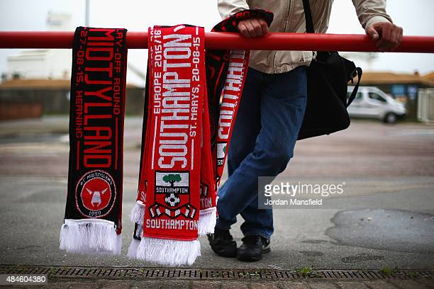 Scarves are sold outside the ground prior to the UEFA Europa League Play Off Round 1st Leg match between Southampton and Midtjylland at St Mary's...