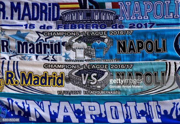 Scarves for sale prior to the UEFA Champions League Round of 16 first leg match between Real Madrid CF and SSC Napoli at Estadio Santiago Bernabeu on...