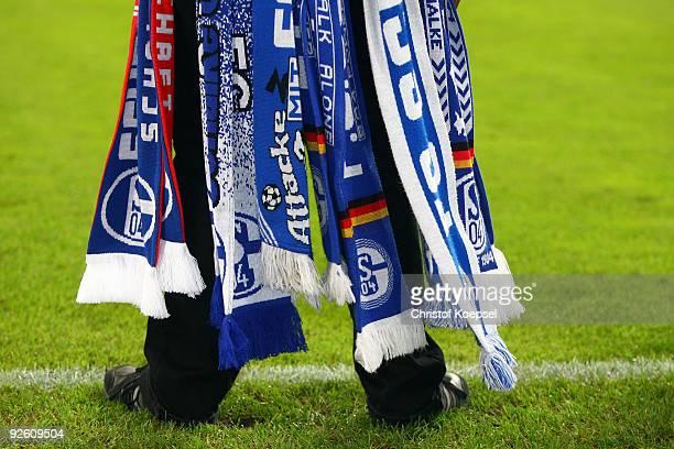Scarves of a fan of Schalke are seen during the Bundesliga match between FC Schalke 04 and Bayer Leverkusen at the Veltins Arena on October 31 2009...