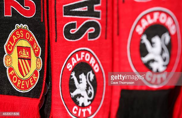 Scarves on sale before the match between Salford City and the Class of '92 XI at AJ Bell Stadium on August 7 2014 in Salford England