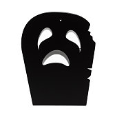 Black scary Halloween tombstone over a white background