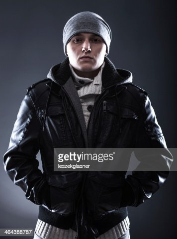 Scary Hooligan Young Man In Leather Jacket Stock Photo Thinkstock