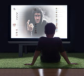 Scary man beckoning boy from social network screen
