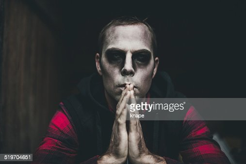 Scary Man In Halloween Makeup Stock Photo | Getty Images