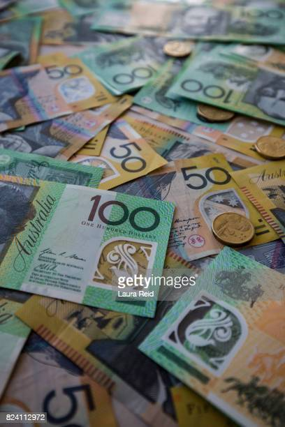 Scattered Australian currency