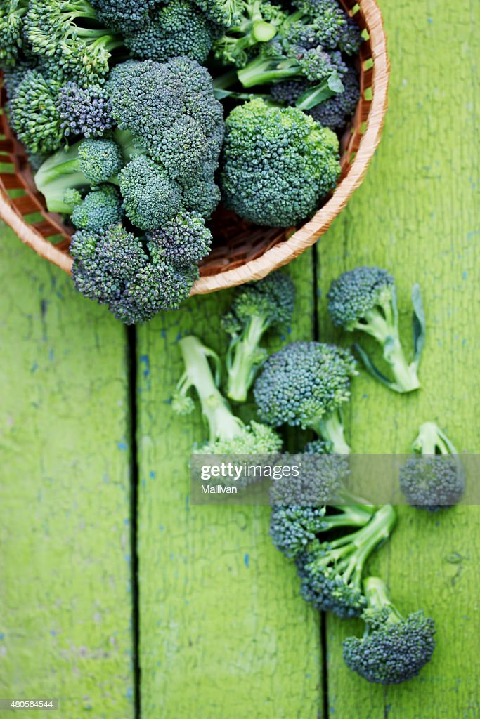 scattered broccoli : Stock Photo
