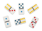 Dominoes Game Pieces Isolated on White Background.