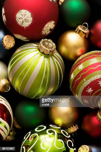 Scattered holiday bulb background of varied colors and sizes