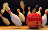 illustration of image of scattered skittle and bowling ball on wooden floor
