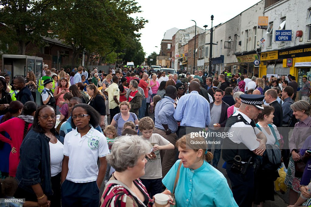 A scene at a community tea party held in Clarence Road in Hackney exactly a week after the violent disturbances involving a stand off between rioters...