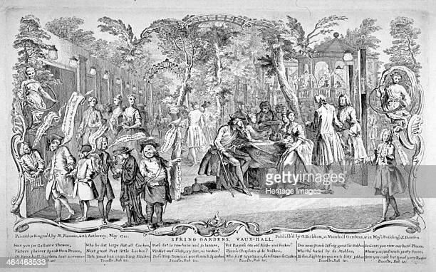 Scene at Spring Gardens Vauxhall London 1741 On the left a group of figures stand with speech bubbles appearing from thier mouths In the centre a...