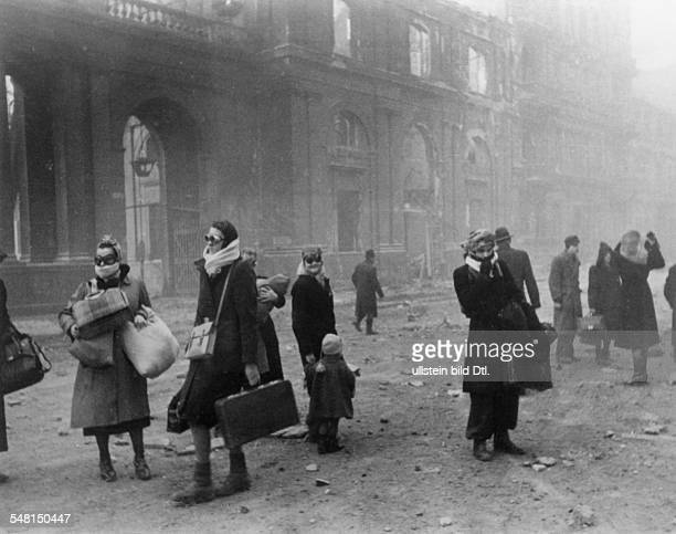 BOMBING OF BERLIN Scene at the Anhalter railway station after an Allied bombing raid in central Berlin 2 March 1945