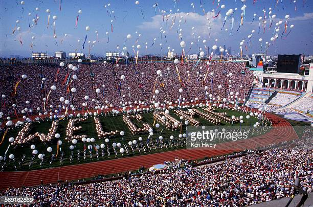 OLY LEGACY – 7/28/1984 – Scene at the Coliseum in Los Angeles during opening ceremonies of the Olympic Games