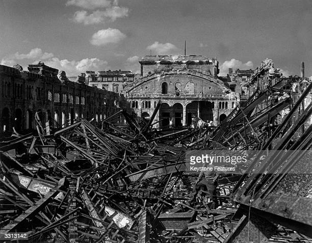 A scene at what was Potsdam Station Berlin The station was hit in four heavy bombing raids two by the RAF and two by the US AIr Force