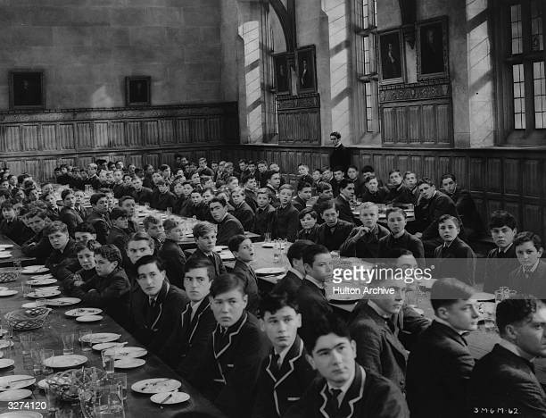 A scene depicting a school dinner from the film 'Goodbye Mr Chips' the story of a shy schoolmaster from his first job to his death The movie was...
