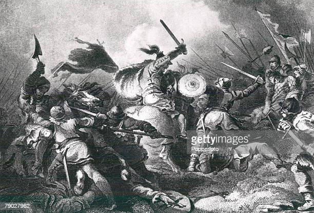 Scene during the Battle of Hastings where the English army was defeated by French leader William The Conqueror's army in 1066