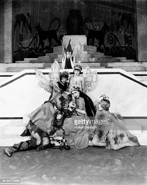 A scene from a 1925 production of Shakespeare's A Midsummer Night's Dream with the characters Bottom and Titania