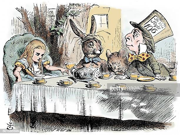 Scene from Alice's Adventures in Wonderland by Lewis Carroll 1865 The Mad Hatter's Teaparty Alice is at the head of the table and the March Hare and...