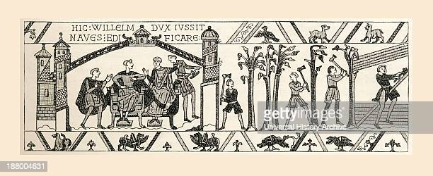 Scene From Bayeux Tapestry King William And Advisers Plan Invasion Of England Men Begin Felling Trees For Boat Building From French Pictures By The...