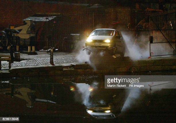 A scene from Coronation Street in which serial killer Richard Hillman drives a car with Gail and her children bound and gagged into the canal but...