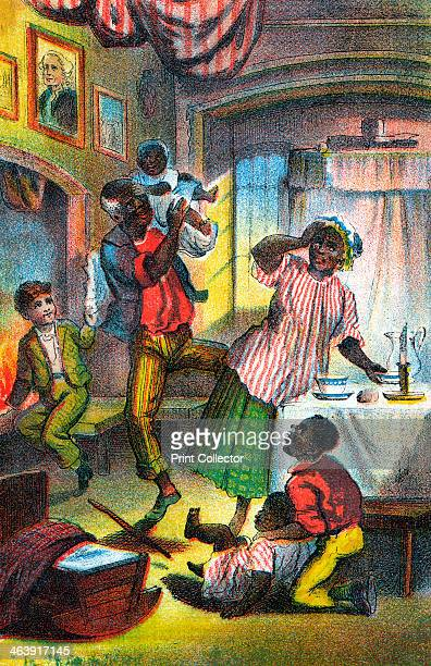 Scene from Harriet Beecher Stowe's Uncle Tom's Cabin c1870 Stowe's antislavery novel was first published in 1852 In this scene in Uncle Tom's happy...
