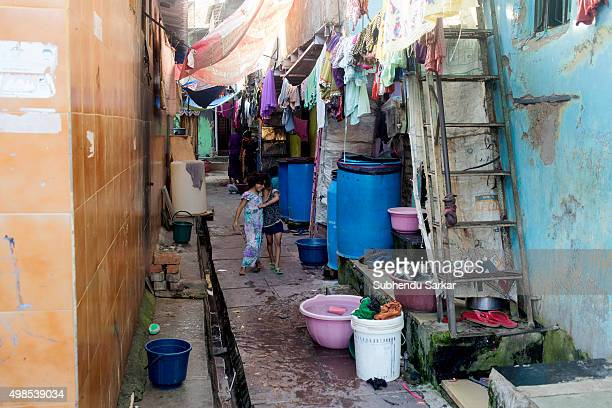 A scene from inside Dharavi slum in Mumbai Dharavi houses one of the largest slums in the world Dharavi slum was founded in 1882 during the British...