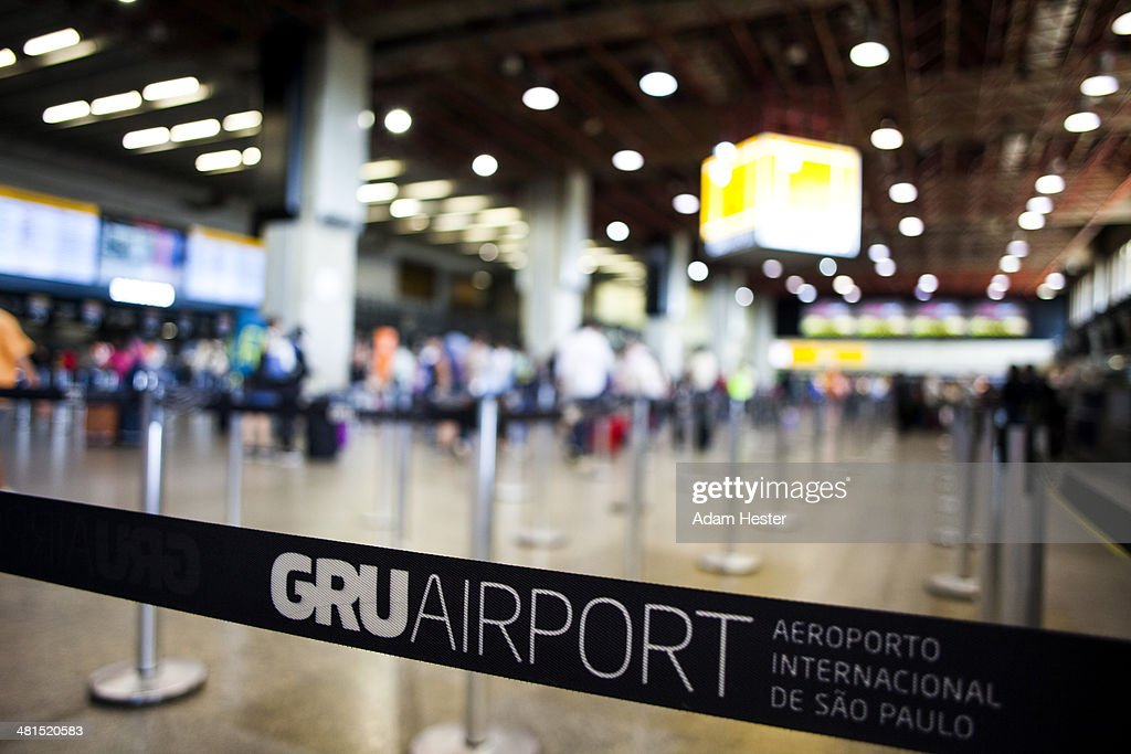 Scene from inside of GRU airport in Sao Paulo.
