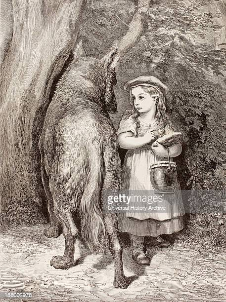Scene From Little Red Riding Hood By Charles Perrault Little Red Riding Hood Meets The Wolf In The Forest And Tells Him She Is Going To Visit Her...
