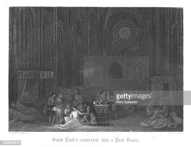 Scene from Old St Paul's by William Harrison Ainsworth 1855 St Paul's being used as a pest house during the Plague of London From Old St Paul's by...