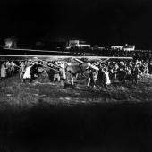 On May 21 1927 at Le Bourget's airport the plane SPIRIT OF SAINT LOUIS piloted by the American aviator Charles LINDBERGH lands at the airport of Le...