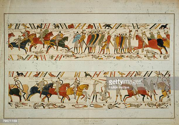 A scene from the Bayeux Tapestry depicting the Norman Invasion of 1066 King Harold's brothers Gyrth and Leofwine are killed at the Battle of Hastings...
