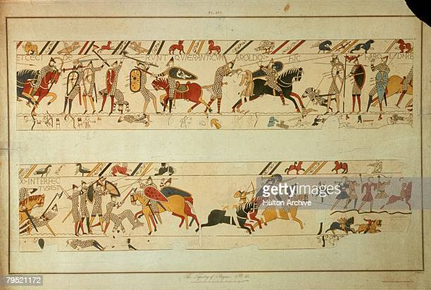 A scene from the Bayeux Tapestry depicting the Norman Invasion of 1066 King Harold II is killed at the Battle of Hastings The tapestry is housed in...