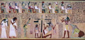 Scene from the Book of the Dead of Any Egyptian c1275 BC In the centre are the scales used for weighing the heart attended by Anubis the jackalheaded...