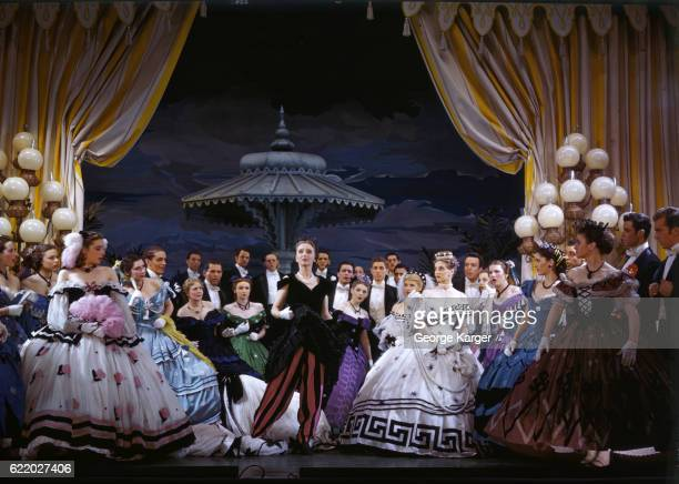 Scene from the Broadway musical 'Bloomer Girl' starring Celeste Holm as Evelina Applegate a girl who rejects hoop skirts in the 1860s in favor of...