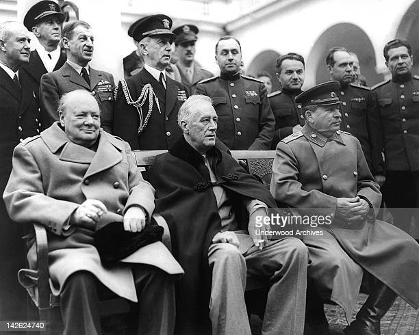 A scene from the Crimean Conference with Prime Minister Winston Churchill President Franklin D Roosevelt and Marshal Joseph Stalin at the palace in...