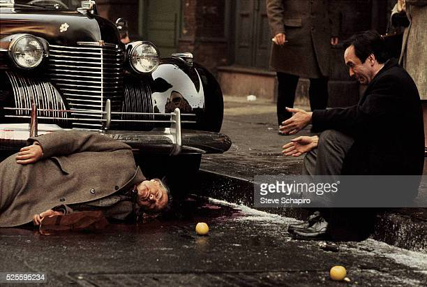 Scene from the film The Godfather with actors Marlon Brando and John Cazale