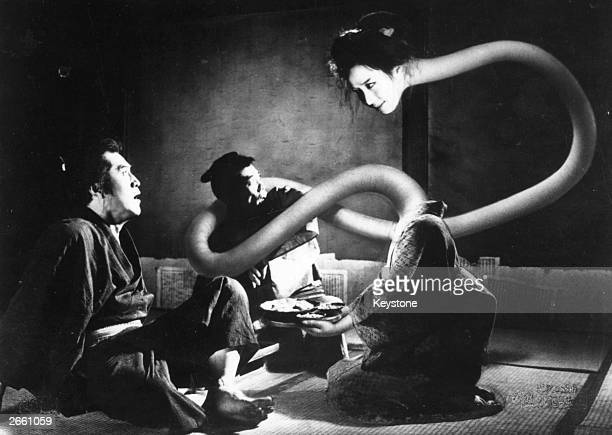 A scene from the Japanese film 'One Hundred Ghost Stories' showing 'rekuroKubi' the longnecked woman