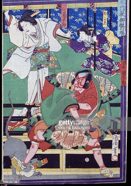 A scene from the Japanese Kabuki play 'Meiboku Sendai Hagi' or 'The Disputed Succession' in which Arajishi Otokonosuke retainer of the feudal lord...