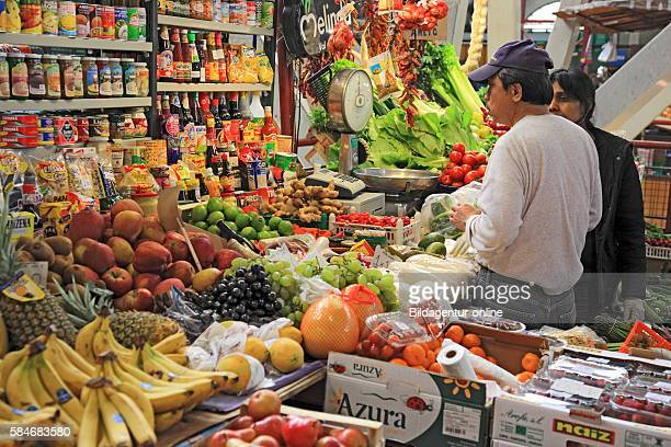 Scene from the market hall of Florence Firenze Tuscany Italy