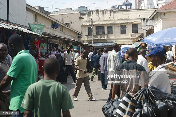 Scene from the market in Mombasa. Downtown Mombasa, Likoni Rd.