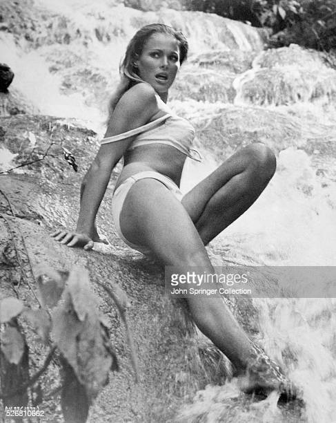 Scene from the movie 'Dr No' 1962 Starring Sean Connery Jack Lord Joseph Wiseman and Ursula Andress directed by Terence Young Ursula Andress shown...