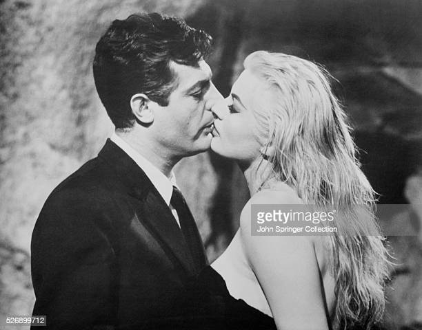Scene from the movie 'La Dolce Vita' starring Marcello Mastroianni and Anita Ekberg In this scene they are kissing Undated photograph