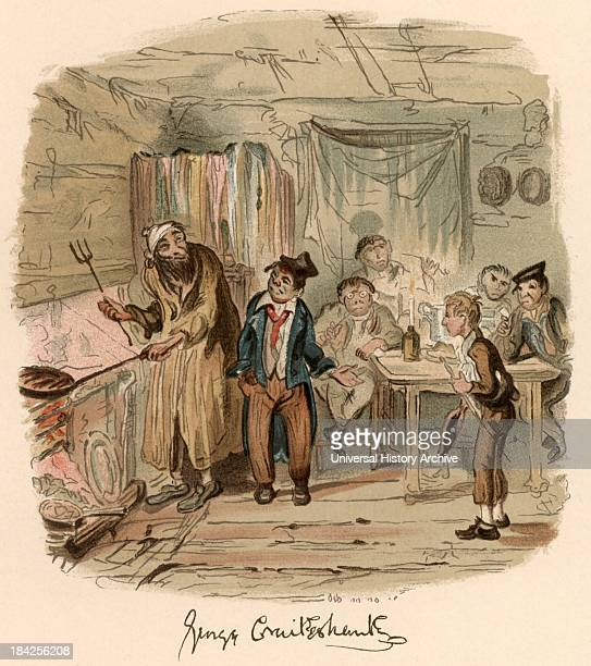 Scene from the novel 'Oliver Twist' by Charles Dickens originally published 18371839 Illustration by George Cruikshank showing Oliver in front of...