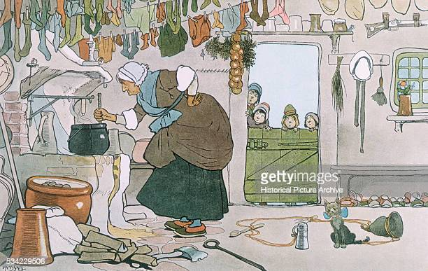 A scene from the nursery rhyme The Old Woman Who Lived in a Shoe depicts the old lady making the children some broth