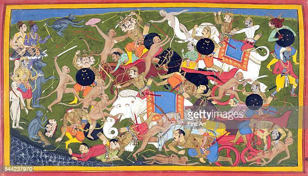 Scene from the Ramayana showing Rama's monkeys battling the King of Lanka's demons as Rama tries to free his kidnapped wife Princess Sita Sahib Din...