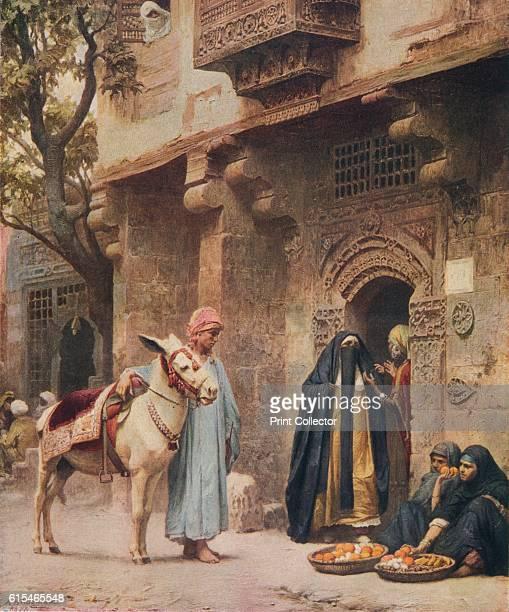 A Scene in Cairo' From Bibby's Annual 1917 [J Bibby Sons Liverpool 1917] Artist Frederick Arthur Bridgman