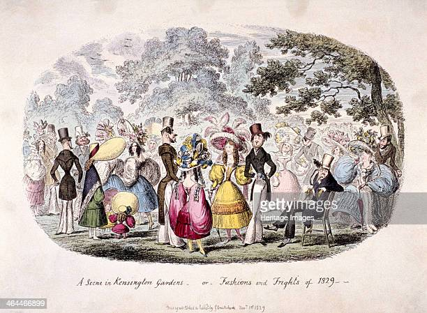 'A scene in Kensington Gardens or fashion and frights of 1829 showing a fashionpromenade in Kensington Gardens London women wearing huge overtrimmed...