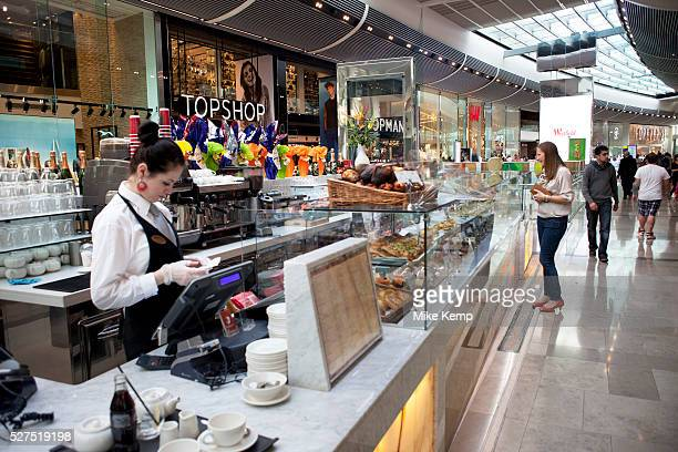 Scene inside the new Westfield Shopping Centre in Stratford East London UK This is Europe's largest shopping complex This is a poor area of London...